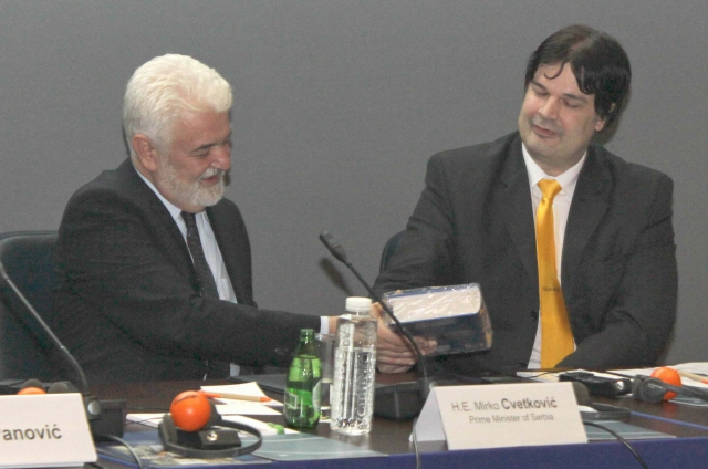 Serbian Prime Minister Mirko Cvetkovic with SMH, November 2011