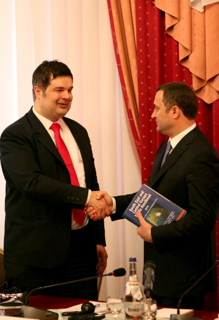 Moldovan Prime Minister Vlad Filat receives the Media Handbook, Moldova, 2012